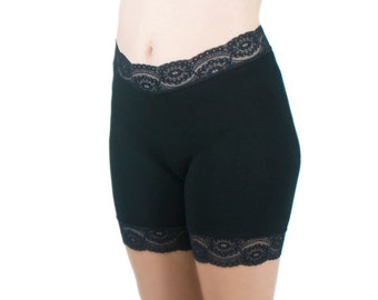 Biker Shorts Black Cotton Jersey Lace Trim Tap Pants