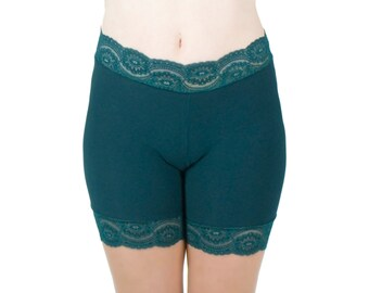 Green Biker Shorts Dark Underwear Lace Trim Tap Pants
