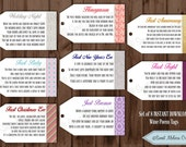 INSTANT DOWNLOAD - 1st Milestone Wine Tags Poems- Digital File -Bridal Showers/Bachelorette Party/Wine Baskets by Sweet Melissa Creations