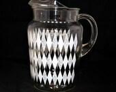 Mid Century Glass Pitcher Vintage Harlequin Pattern Retro Beverage Pitcher White Diamond Pitcher 1950s Serving Pitcher Vintage Kitchenwares