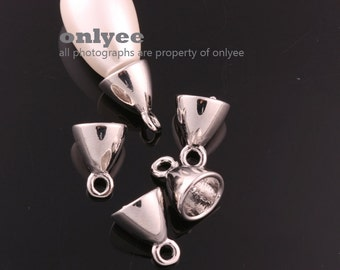 4pcs11mmX8mm Rhodium Plated over Brass Bead cap with Deco Peg(K777S)