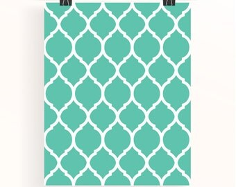 Moroccan Pattern Print Emerald Wall Art Turquoise Home Wall Art Aqua Home Decor