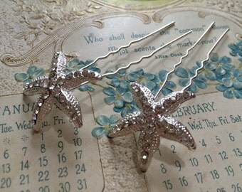 2 Pieces - Wedding bobby pins, bridal accessories, silver crystal hair clips, starfish hair clips, bobby clips, hair clips, bridesmaids gift