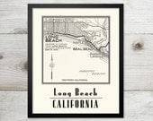 Long Beach -Vintage Map Art Print  -  8 x 10