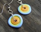 Seasons Circles.  Lampwork Disc Multicolor Earrings.  Bright Cheery Earrings.