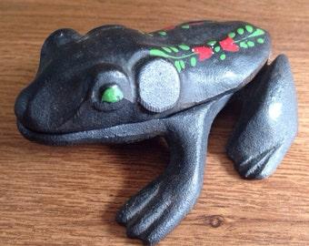 Vintage Cast Iron Frog Hinged Trinket Box Wilton
