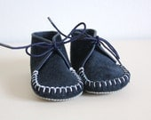 Vintage Baby Suede Shoes Navy Blue 6 to 12 months Suede Slippers Baby Boy Leather Boots