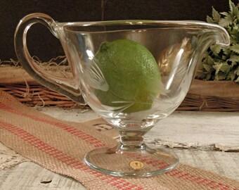 Vintage Glass Gravy Boat / Made in Romania / Thanksgiving Dinner
