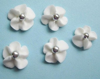 White Royal Icing Flowers with Silver Dragee Center (100)