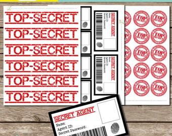 INSTANT download: Spy Kit - SPy ID cards, Top Secret Labels, Top Secret Stamps - Printable PDF file