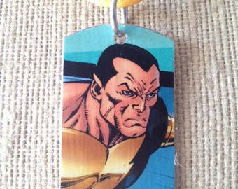 Black Adam upcycled comic book dog tag, includes necklace or keychain