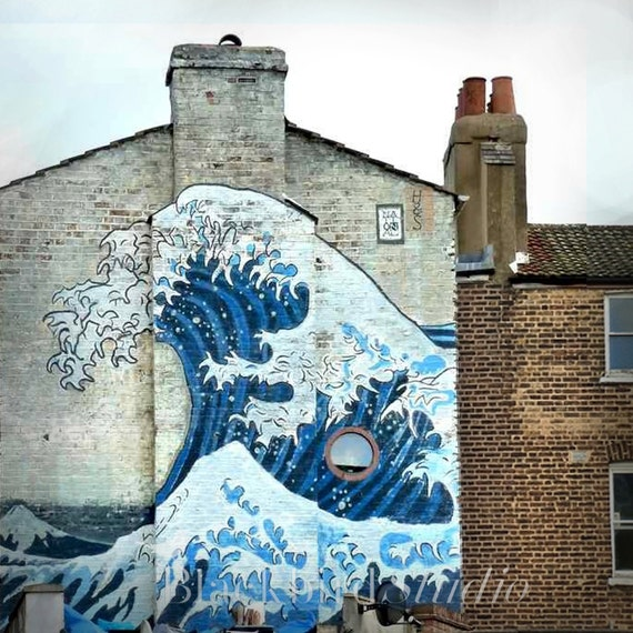 Hokusai Great Wave Mural, Camberwell, London Photography 5 x 5 inches limited edition print