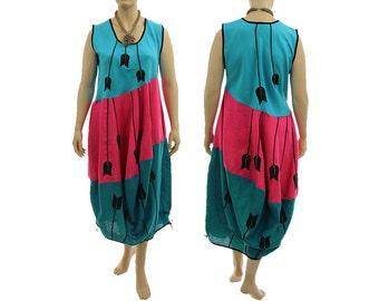 Boho linen maxi balloon dress in teal pink, tank pinafore summer linen dress, lagenlook linen dress plus size women XL-XXL, US size 18-22