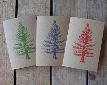Red, blue and green Christmas fir tree cards (pack of 3)