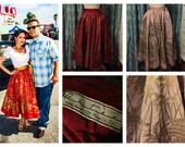 1950s Columbian Full Circle Skirt Set Silk Village and Palm Trees XS