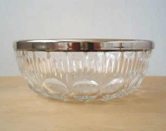 Vintage 1960's French Crystal and Silver Serving Bowl
