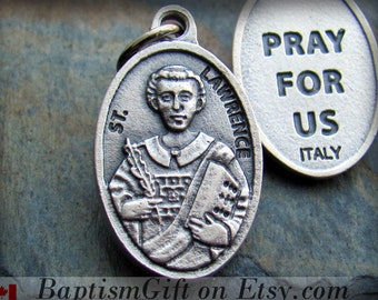 Saint Lawrence Charm,  St. Lawrence St Lawrence Necklace Medal, Made in ITALY,  Patron Saint Catholic Jewelry  Baptism Godparents Gift