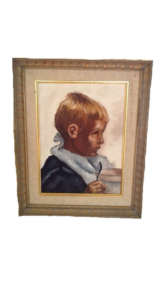Vintage Framed Impressionist Original Oil Painting Depression Era Boy and Spoon 1940s Signed