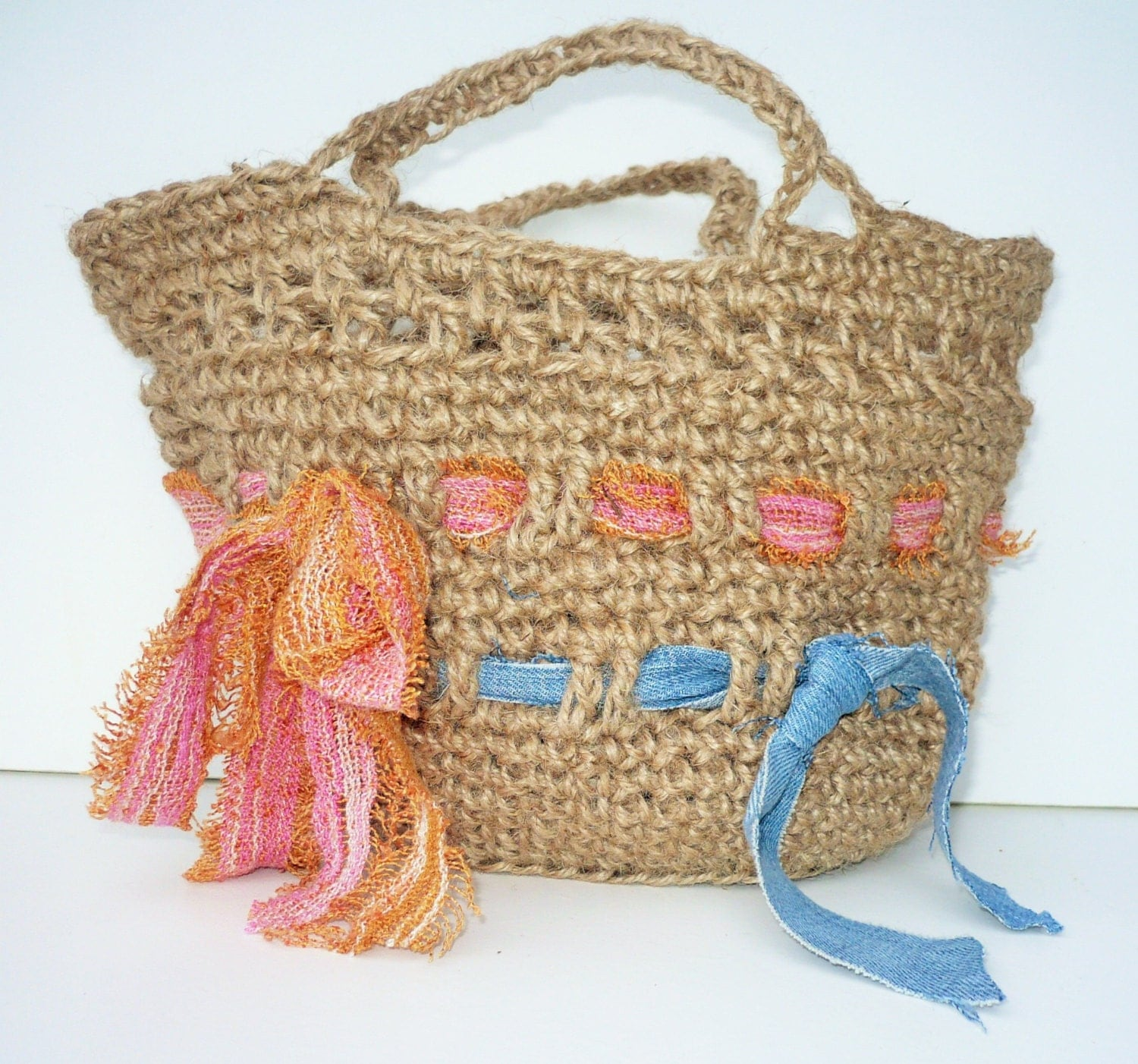 Crochet Small Tote Bag Pattern : Small Shopping Bag: Crocheted Jute Tote. by TrinketsNTrowels
