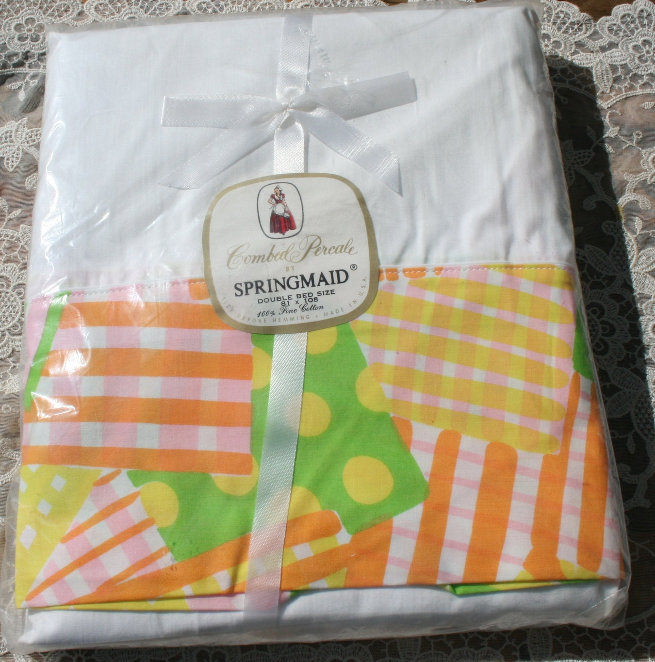 description this is a retro vintage springmaid unused double size bed sheet