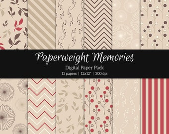 Raspberry Kiss - digital patterned paper - Instant Download -  digital scrapbooking - patterned paper - digital background - Commercial use