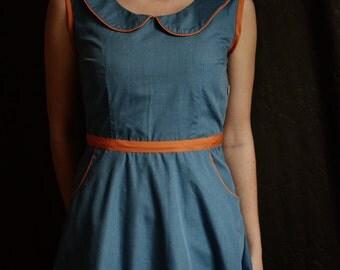 Peter Pan Collar Color Block Dress // Blue Dress / Summer Dress / Retro Dress / Womens clothing / Womens dresses