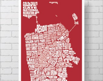 San Francisco Neighborhoods Map Print - Custom San Francisco Typography Map with Landmarks, Various Colors, Type Map Art Print Poster