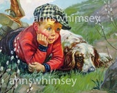 Dog and Little Boy Art Print,  We'll Get That Silly Rabbit - Antique Art Print Restored - Restored From Circa 1920 Print #144