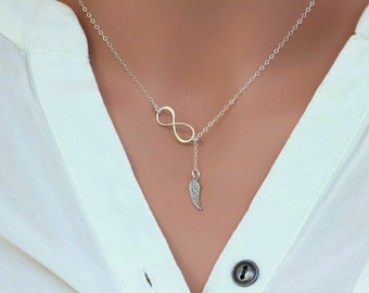 Infinity Angle Wing Neckalce.Sterling  Silver Angle Wing Neckalce.Infinity necklace,Lariat Style,Infinity Necklace with Angle Wing Charm