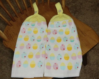 Easter - Easter Eggs & Chicks Yellow  Knit Top Kitchen Towels