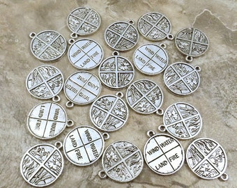 4 Elements Charm - Land Wind Fire Water - 20 Pewter Charms - Free Shipping to US - (0043)
