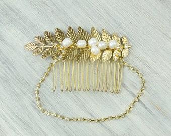 Gold leaf comb, Bridal hair comb, Rhinestones hair comb, grecian hair piece, prom hair jewelry, wedding freshwater pearls headpiece