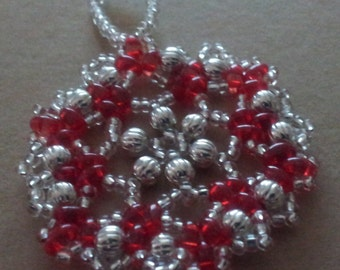 Bead and crystal snowflake / wreath ornament. Red and Silver