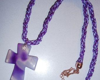Woman, Gemstone  purple /lilac kumihimo satin corded Agate cross pendant