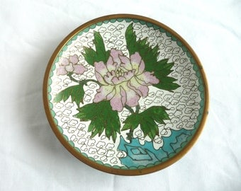 Vintage cloisonne dish - cloisonne trinket dish - Chinese cloisonne pin tray - brass and enamel trinket dish - Chinese cloisonne dish