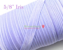 "5/8"" Fold Over Elastic - Iris/Lilac Color - Light Purple Elastic - Lilac Elastic -Iris Fold Over Elastic - Hair Accessories  Supplies"
