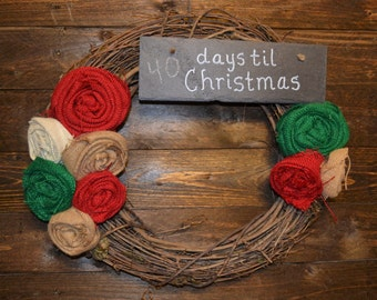Burlap Days til Christmas Wreath