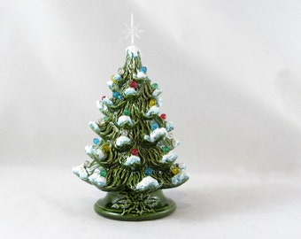 Small Ceramic Vintage Style Glazed Christmas Tree with Snow- 7 inches with base-hand made Pine tree with tea light
