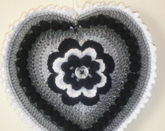 Crochet heart hanging