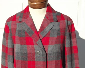 Woman's Jacket Vintage Late '40's, Early '50's Wool Plaid Jacket Size Medium