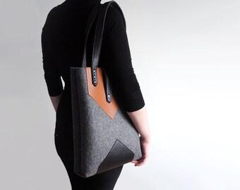 Dark Grey Black Sienna Brown Wool Felt Genuine Leather Tote Bag