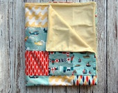 Fly Away Transportation Collection Modern Baby Minky Blanket