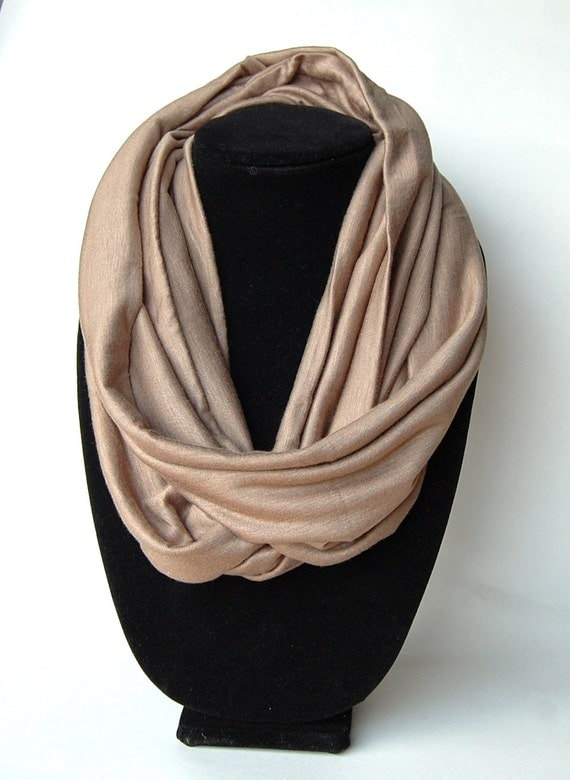 Infinity Scarf Jersey Knit Light Brown by AlwaysCreations ...