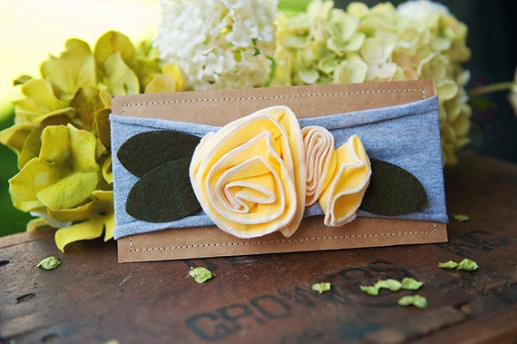 Ema Jane - Shabby Chic Headband (Yellow Roses on Light Gray)