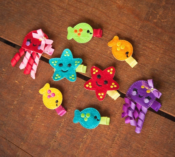 Shaby Chic Small Felt Sea Creatures (Blub Blub) Hair Clips Set