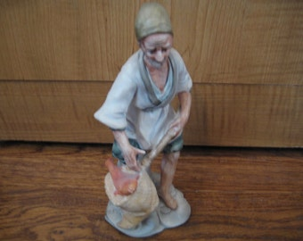 Vintage Inarco Hand Painted Ceramic Fisherman Figurine