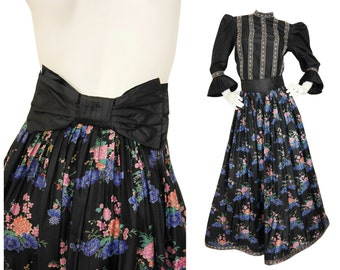Nina Ricci 1970s Vintage Evening Ball Gown Set Evening Dress Blouse Maxi Skirt Floral Printed Silk Size 4 XS