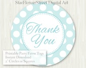 Baby Shower Favor Tags Baby Boy thank you label polka dot aqua gray turquoise printable digital download decoration party sprinkle hang 2""