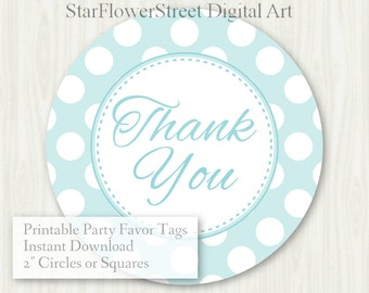 """Baby Shower Favor Tags Baby Boy thank you label polka dot aqua gray turquoise printable digital download decoration party sprinkle hang 2"""""""