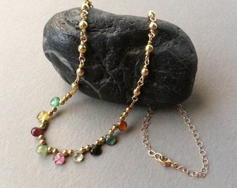Gold Colorful Gemstone Necklace Multicolored Semiprecious Tourmaline Briolette Hearts Gold Filled Rolo Chain Gold Plated Rounds Modern Boho